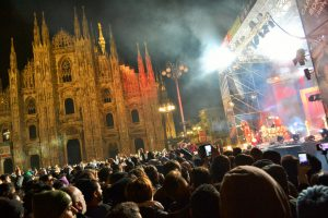 Milan,Italy-January 1, 2016: A view to the New Year concert at the Milan Duomo square by night.